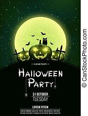 club, concetto, poster., pumpkins., verticale, verde, croci, owl., moon., halloween, terribile, vettore, fondo., ardendo, pieno, nero, sagoma, tombe, festa., dust.
