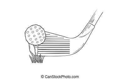 club, croquis, balle, golf