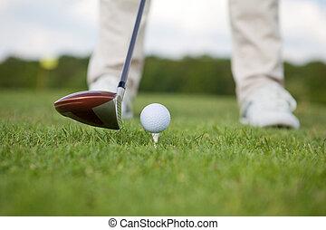 club, curso, pelota, golf, hombre