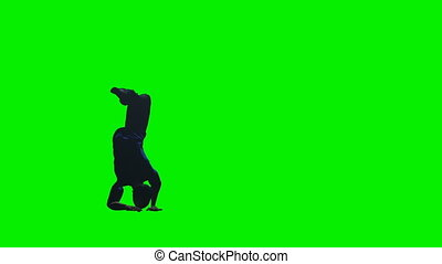 Club Dancer Silhouette in slow motion against Green Screen