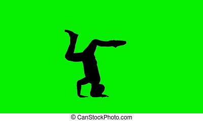 Club Dancer Silhouette in slow motion, Green Screen