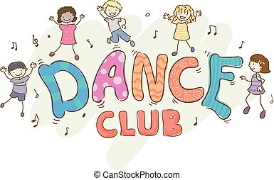 club danse, gosses, stickman, illustration