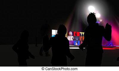 club danse, nuit, interprètes