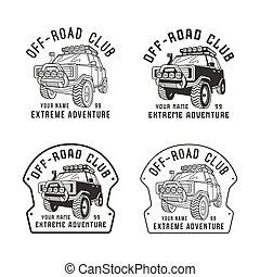 club, de-route, vecteur, emblème, stockage