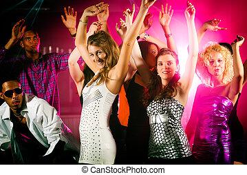 club, disco, amigos, o, bailando
