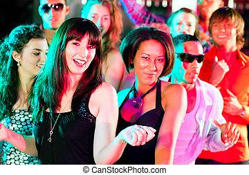 club, discoteca, amici, o, ballo