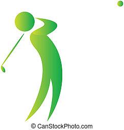 club, el suyo, pelota, balanceo, golfista