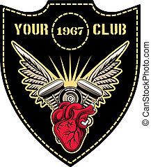 club, emblème, moteur