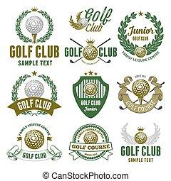 club, emblèmes, golf