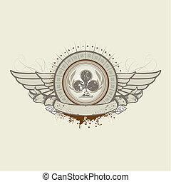club, emblema, traje