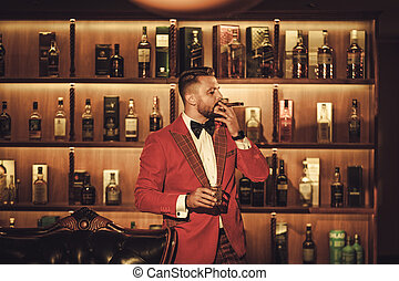club, extravagante, whisky, vidrio, cigarro, hombre, ...