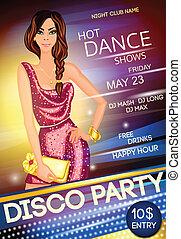 club, fête, nuit, affiche, disco