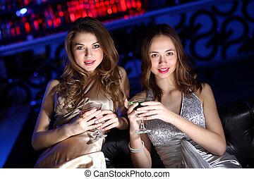 club, femme, jeune, boisson, nuit