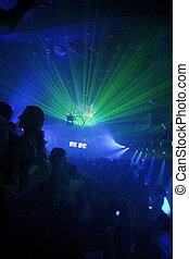 club, fiesta, plano de fondo, noche
