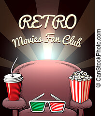 club, films, ventilateur, retro, affiche