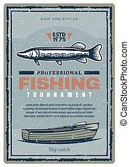 club, fish, tournoi, peche, bannière, retro