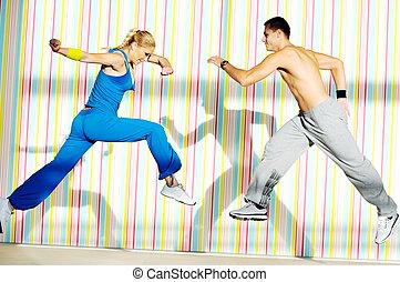 club, fitness, groep, volwassenen, jonge