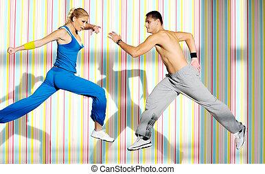 club, fitness, groupe, adultes, jeune