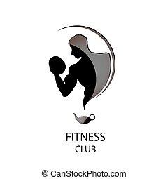 club, fitness, noir, icône