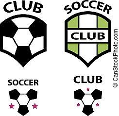 club, football, emblème, vecteur, balle