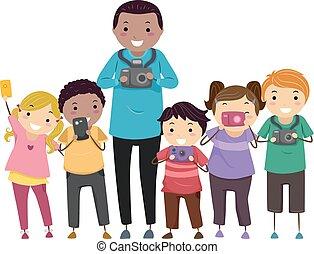 club, fotografia, bambini, stickman, illustrazione