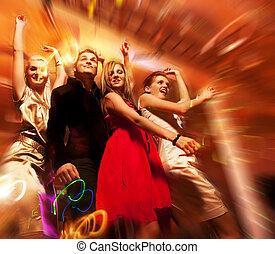 club, gente, noche, bailando