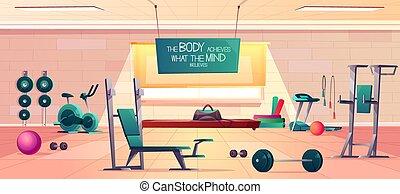 club, gimnasio, vector, plano de fondo, interior, deporte, ...