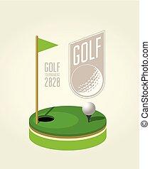 club golf, affiche, tournoi, -, aviateur, conception, gabarit