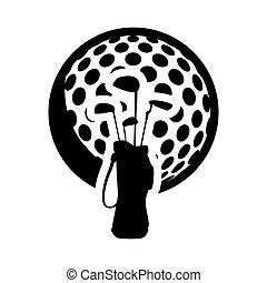club, golf bal, ontwerp, sportende