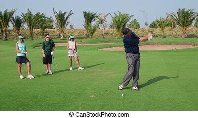 club, golf, gens, jouer, amis