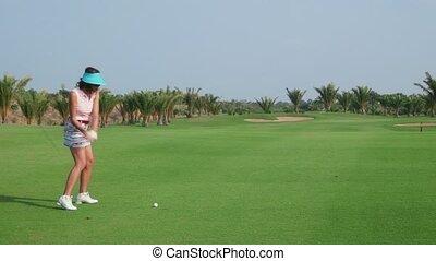 club, golf, vrouw, spelend, land