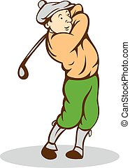club, golfista, caricatura, balanceo