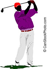 club, golpear, pelota, hierro, golfista