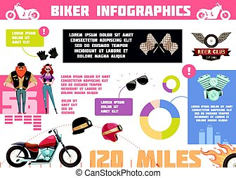 club, griffonnage, motard, infographics