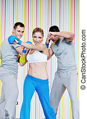 club, groupe, adultes, fitness, jeune