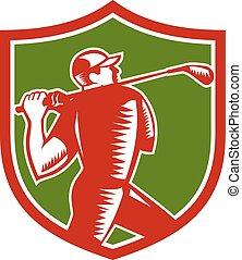 club, het slingeren, golfspeler, schild, houtsnee