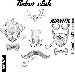 club, hipster, retro, accessoires