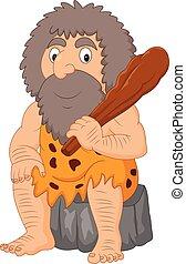 club, homme cavernes, dessin animé, tenue