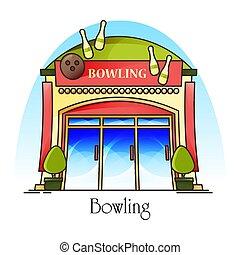 club, house., façade, bowling, devant, ou, vue