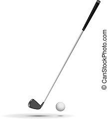 club, illustrat, pelota, golf, vector
