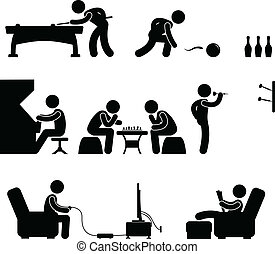 Club Indoor Activity Snooker Pool - A set of pictogram about...