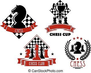 club, jeu, tasse, échecs, icônes