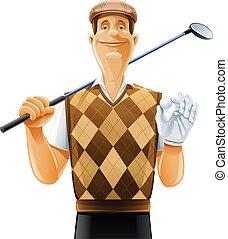club, joueur, balle, golf