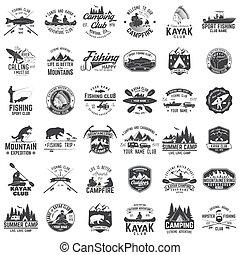 club, kayak, peche, badge., camping, ensemble, canoë