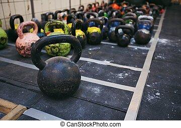 club, kettlebell, poids, fitness