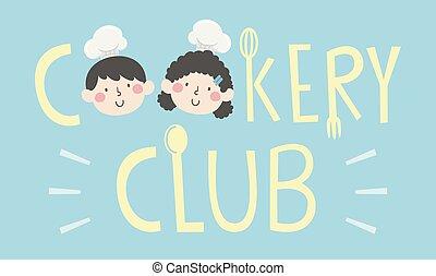 club, lettrage, gosses, cuisine, illustration