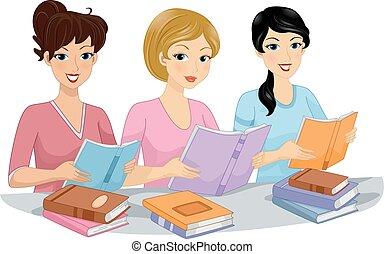 club, libro, niñas