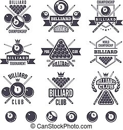 club, logos, billard, ensemble