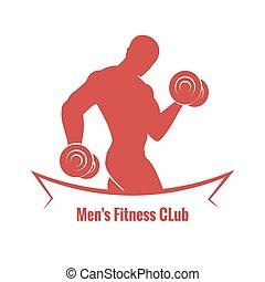 club, logotipo, mens, condición física