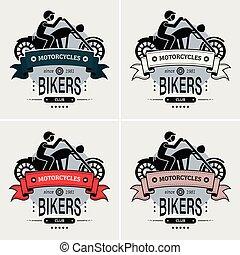 club, logotipo, motociclista, selettore rotante, design.